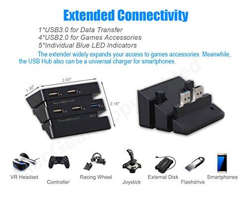 USB Hub for PS4 Pro - ElecGear Central de Expansión de 5-Puertos 3.0 Adaptadores Cargador with Indicador LED for Playstation 4 Pro
