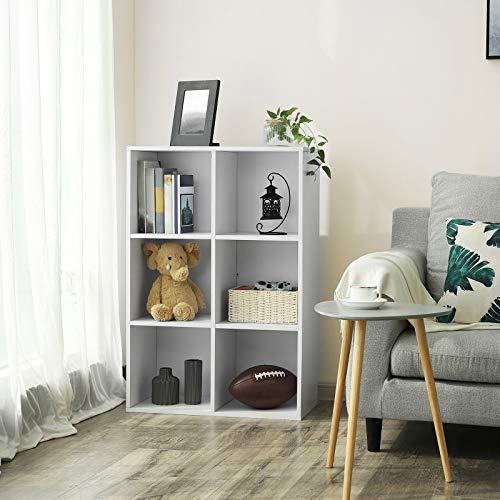 VASAGLE Librería Estantería Biblioteca con 6 Compartimentos 65,5 x 30,5 x 97,5 cm Blanco LBC203D