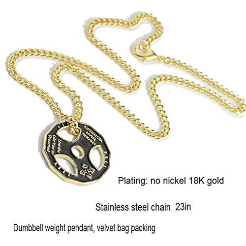VAWAA Fitness Motivación Colgante Collar De Acero Inoxidable Cadena De Acero Powerlifting Placa De Peso Encanto Culturismo Gimnasio Collar Hombres Mujeres