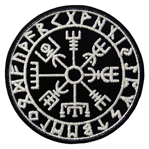 Vegvisir Viking Brújula Norse Rune Morale Táctica Broche Bordado de Gancho y Resplandor en el parche oscuro de Gancho y bucle de cierre