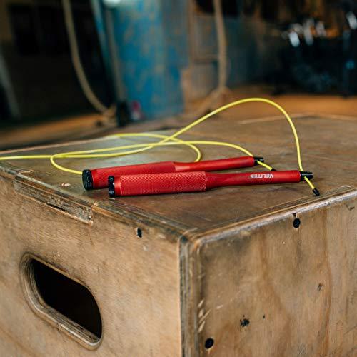 Velites Cuerda de Saltar lastrada para Crossfit, Boxeo y Fitness Fire 2.0 Ideal para Saltos Dobles Comba Velocidad Aluminio, Adultos Unisex, Roja, Cable Amarillo 2 mm