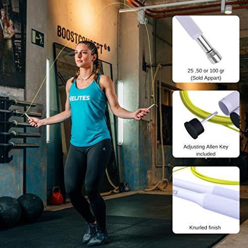 Velites Cuerda de Saltar lastrada para Crossfit, Boxeo y Fitness Vropes Fire 2.0 Comba de Velocidad de Aluminio (Lastres no incluidos)