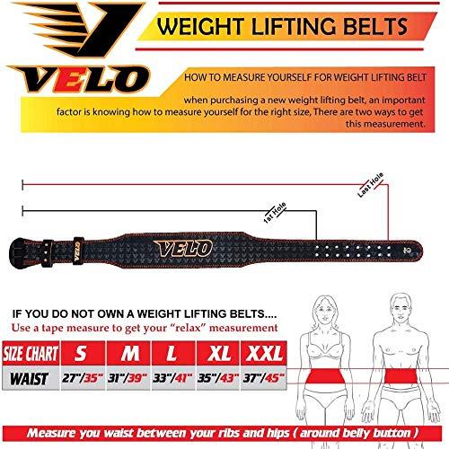 VELO - Cinturón de piel de búfalo para levantamiento de pesas de 10,16 cm, Blanco y negro., L