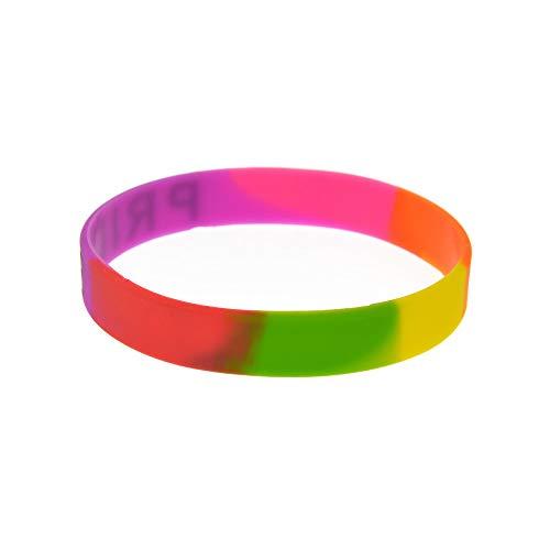 Vempires Gay Pulseras De Silicona Muñequera Hombres Pride Pink Rainbow Color Pack De 10 PCS