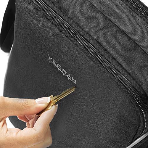 Verran Bandolera Hombre Vintage Bolso Hombre Bandolera Resistente al Agua y los Arañazos con Soporte de iPad y Tableta 26x21x11 centímetro Café Oscuro