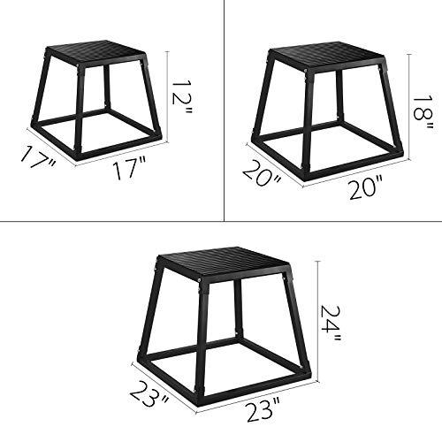 VEVOR Plyometric Box Pliométrico Caja Pliométrico Plataforma Caja de Salto Caja Pliometrica Salto Cajón Pliometrico Set de 3 Piezas 12 ''/18 ''/24 '' Negro