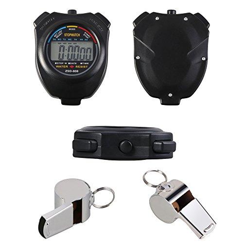 Vicloon Digital Cronómetro con Silbato de Acero Inoxidable - LCD Deporte Cronómetro para Fútbol,Baloncesto,Correr,Natación,Fitness y Más