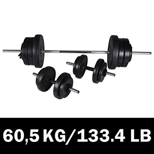 vidaXL Set de Barra con Pesas + 2 Mancuernas 60,5kg