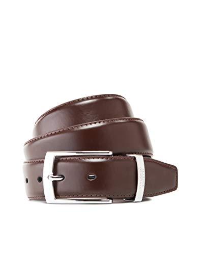 Vincenzo Boretti Cinturón hombre de piel con hebilla plateada, cuero brillante mate, logotipo de metal marrón oscuro 95 cm