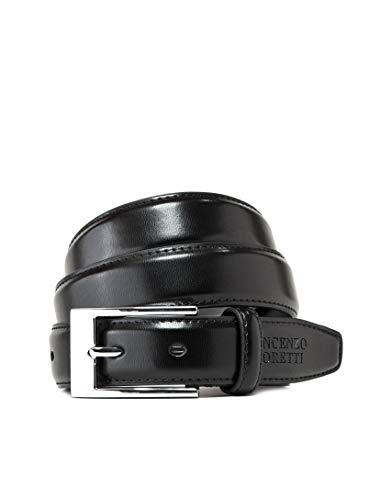 Vincenzo Boretti Cinturón hombre de piel con hebilla plateada, cuero brillante negro 85 cm