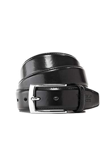 Vincenzo Boretti Cinturón hombre de piel con hebilla plateada, cuero brillante negro 95 cm