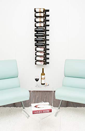 VintageView Wall Series 4 Botellero metálico de pared para botellas de vino (1220 mm, 12-36 botellas), acero, negro satinado, 24 Bottles