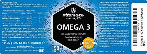 Vitamaze® Omega 3 Capsulas 1000 mg de Dosis Potentes, Puro Aceite de Pescado con 400 mg (40%) EPA y 300 mg (30%) de DHA por Cápsula de Gelatina blanda para 3 Meses, IFOS Certificado, Calidad Alemana