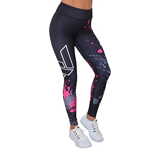 VJGOAL Moda Casual para Mujer Leggings Gimnasio Deportes Gimnasio Correr Pilates Pantalones de Yoga Alta Elasticidad Pantalones de chándal Transpirables(Large,Negro)