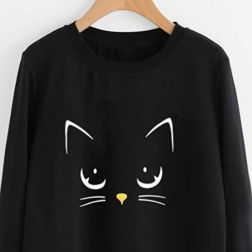 VJGOAL Mujeres Moda Casual Otoño e Invierno Lindo Gato impresión Suéter de Cuello Redondo de Manga Larga Color sólido Blusa Jersey(XL,Negro