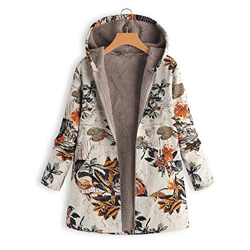 VJGOAL Para Mujer de Invierno más el tamaño de la Moda Casual Warm Thicken Outwear Estampado Floral Bolsillos con Capucha Vintage Abrigos de Gran tamaño(Large,Naranja)