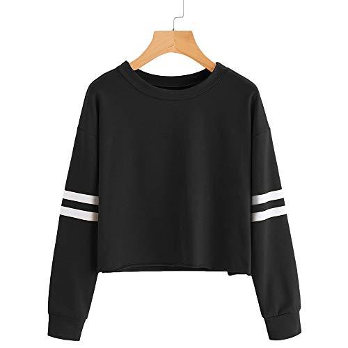 VJGOAL para Mujer de Moda Casual otoño Manga Larga de Color sólido Raya de impresión Cuello Redondo Sudadera Blusa Tops Pullover(M,Negro)
