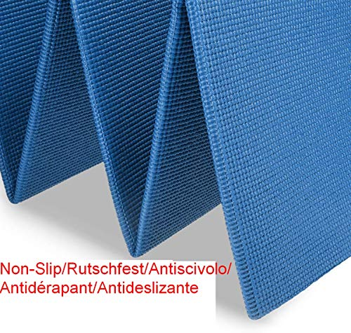 VLFit Esterilla de Yoga Antideslizante - Colchoneta de 173 x 61 x 0,6cm - Alfombra Plegable para Entrenamiento Gimnasia y Pilates (Azul)