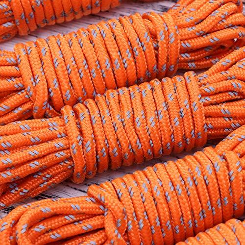 Vosarea 6pcs Cuerda Tienda Reflectante Cortavientos Cordel de campaña con Tensor Cuerda para Camping Senderismo 4m Naranja