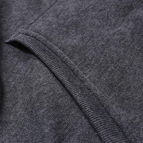 VPASS Sudaderas con Capucha, Sudadera para Hombre de Manga Larga otoño Invierno Casual Abrigo Camisas Blusa Top chándales Color sólido Hombres Manga Larga Chaqueta Abrigo