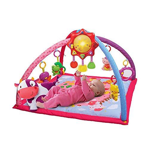 VTech Mantita de juego cantarín 2 en 1, manta y gimnasio de aprendizaje para bebé con más de 40 canciones, frases y melodías, panel extraíble, color rosa (80-146457)