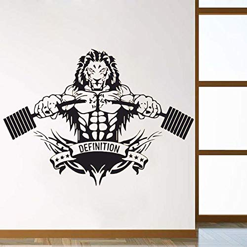 Wall Sticker Sports Lion Room Decoration Crossfit Fitness Club Gym Poster Any Size Design Removeable Poster Mural-Los 57X80CM