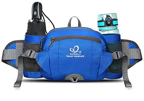 Waterfly Riñonera Running Deportiva Impermeable Multifuncional Bolso de Cintura con Portabotellas Para Correr Senderismo Ciclismo Para Hombre Mujer (Azul)