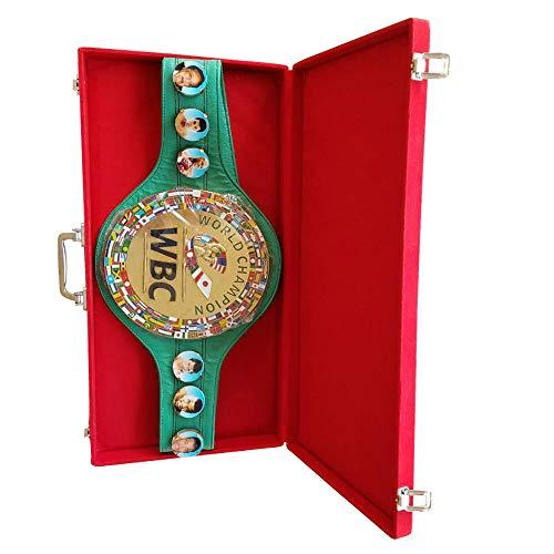WBC - Cinturón de boxeo de piel para adultos con caja