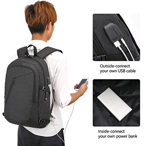 WENIG Mochila Antirrobo Impermeable,Mochila Portatil 15.6 Pulgadas Mochila Hombre con Puerto de Carga USB,Mochila Backpack para el Laptop para Ordenador del Negocio Trabajo Diario Viaje-Negro