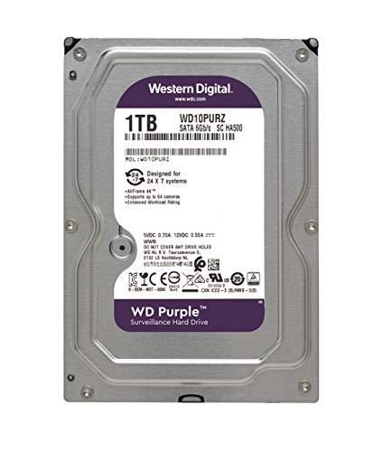 Western Digital WD Purple 1TB para videovigilancia - 3.5 pulgadas SATA 6 Gb/s disco duro con tecnología AllFrame 4K - 180TB/yr, 64MB Cache, 5400rpm - WD10PURZ