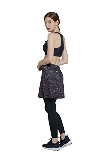 Westkun Mujer Falda Modesta con Pantalon de Deportes Corriendo Tenis Golf Mallas Ropa La Altura del Tobillo Falda con Legging 2 en 1(Flor-Longitud Tobillo,M)