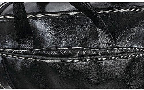 WeWo Bolsa Deporte Hombre Bolsa Gimnasio Bolsa De Viaje Cuero Bolsos Deportivos Duffel Bag Bolsos Fin De Semana Bolso Hombro Bolsa Equipaje Mujer con Compartimiento para Zapatos (Negro)