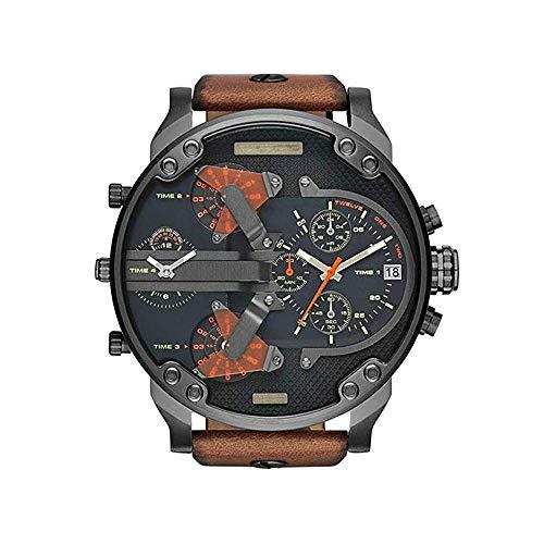 Wghz Reloj para Hombre Reloj de Cuarzo analógico de Acero Inoxidable Correa de Cuero Reloj Deportivo de Cuarzo para Hombre con Reloj de Esfera Grande para Hombre