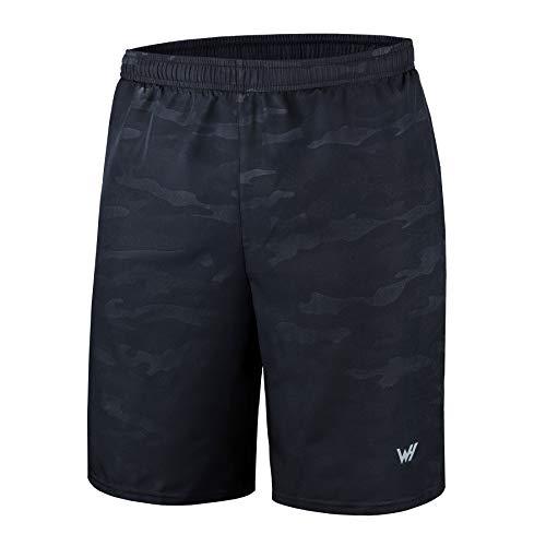WHCREAT Para Hombres con Pantalones Cortos para Correr Bolsillos con Cremallera para Entrenamiento de Gimnasio L