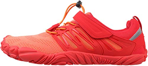 WHITIN Zapatilla Minimalista de Barefoot Trail Running para Hombre Mujer Five Fingers Fivefingers Zapato Descalzo Correr Deportivas Fitness Gimnasio Calzado Asfalto Rojo Naranja 36