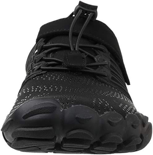 WHITIN Zapatilla Minimalista de Barefoot Trail Running para Hombre Mujer Five Fingers Fivefingers Zapato Descalzo Correr Deportivas Fitness Gimnasio Calzado Asfalto Negro 39