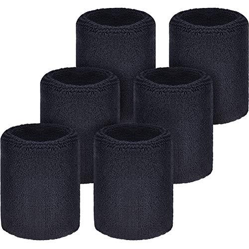 WILLBOND Pulseras para el Sudor, para fútbol, Baloncesto, Correr, Athletic Sport, Color Negro, 6 Unidades