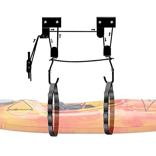 WilTec Sistema poleas Colgar Kayak Techo Garaje Almacenaje Soporte Canoa Piragua Piragüismo Remo Deportes