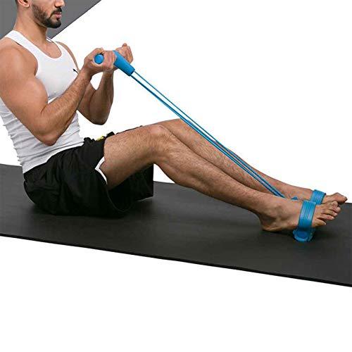 WISDOMLIFE Cuerda para ejercitar piernas, 4 Tubos, multifunción, para Yoga, Fitness, Pedal, dominadas, Culturismo, etc. Bandas de Ejercicio de Resistencia para Gimnasio en casa (Azul)