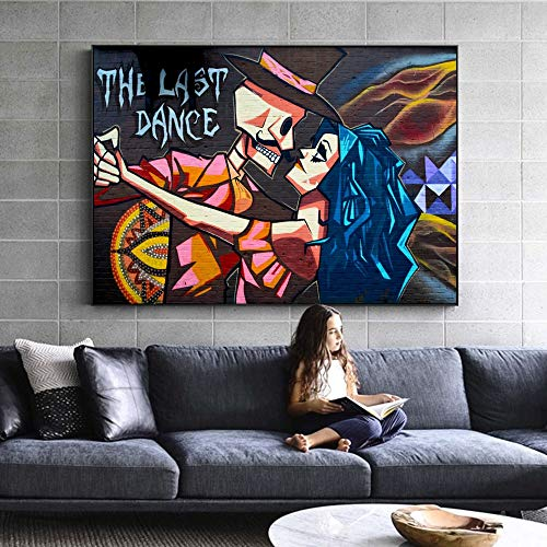 wojinbao Sin Marco The Last Dance Street Wall Graffiti Art Canvas Prints Modern Abstract Wall Paintings Imprimir en Lienzo Imágenes para niños Habitación Wall