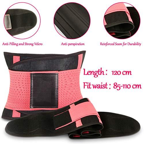 WOSTOO Mujer Cintura Entrenador, Fajas Reductoras Adelgazantes Mujer Fajas Reductoras Adelgazantes Faja Reductora Cinturón Lumbar Abdomen Adjustable para Deporte Fitness - Rosa