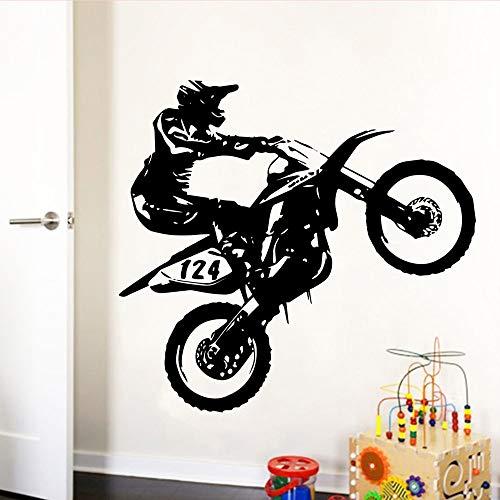 wZUN Motociclista Creativo Vinilo Autoadhesivo Impermeable Pared Arte calcomanía habitación de los niños decoración del hogar Papel Tapiz 69X78cm