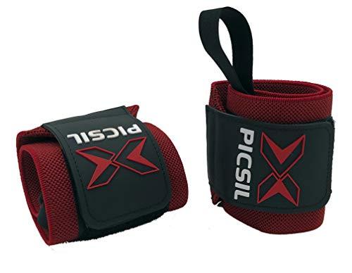 "X PICSIL Muñequeras Deportivas Profesionales - 18"" Soporte Muñeca Hombre & Mujer - Weight Lifting, Powerlifting, Strength Training (Rojo)"