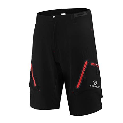 X-TIGER Pantalones Cortos de Montaña Ciclo Holgados de Hombres, Transpirables Sueltos, para MTB de los Deportes al Aire Libre (L, Negro y Rojo)