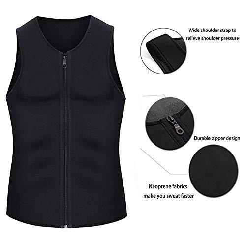 XDSP Faja Reductora Hombre Adelgazante Corsé con Cremallera Camiseta Termica, Compresión Desarrollo Muscular Quema Grasa Pérdida de Peso Sudoración Cremallera para Hombre (Gray, XL)
