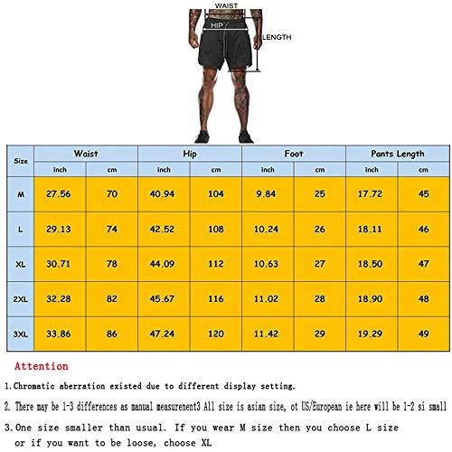 XDSP Pantalón Corto para Hombre,Pantalones Cortos Deportivos para Correr 2 en 1 con Compresión Interna y Bolsillo para Hombres (M)