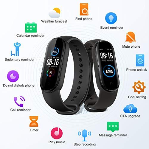 Xiaomi Band 5 Pulsera de Actividad Inteligente, Fitness Tracker, Monitor de Ritmo Cardíaco, Smartwatch con 1.1''Pantalla AMOLED a Color,100+ diales de Temas, 11 Modos Deportivos, Negro