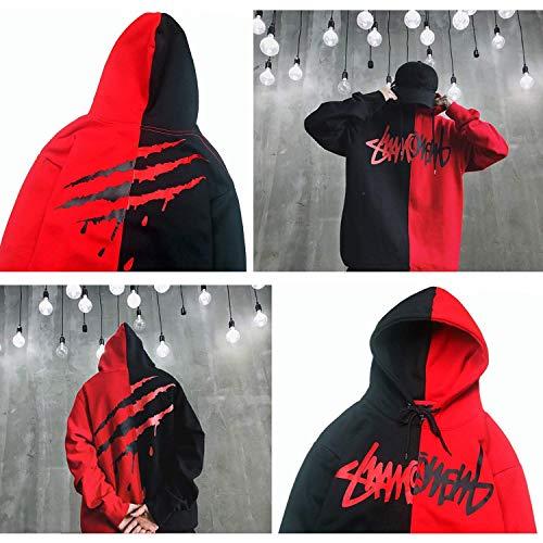 XIAOYAO Hombre Sudadera con Capucha Deportiva Manga Larga Hoodie Casual Camisa de Entrenamiento (L, Rojo Negro 2)