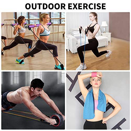 XIAPIA Bandas Elásticas de Resistencia 12 Kit 45,5 KG Cintas Elasticas Fitness Musculacion Gomas para Ejercicio Entrenamiento Crossfit Deporte Gym Mujer y Hombre 5 Tubos de Látex/Toalla
