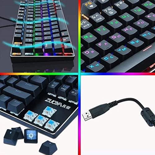XIUYU Profesionales de Deportes electrónicos Teclado mecánico - Gaming mecánica Teclado USB RGB/contraluz híbrido Cable del Teclado 87, Anti-ghosting Interruptor de Tres Colores